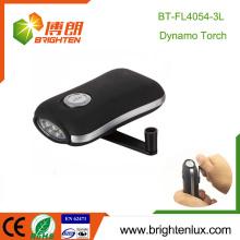Fabrik Großhandel Notfall keine Batterie Kunststoff Beliebte Hand Schütteln 3 LED Dynamo Wind bis Taschenlampe Fackel