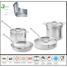 Cookware Set 3ply Body Stainless Steel Clad Cookware
