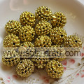 Sparkling Gold Color Acrylic Rhinestone Berry Beads for Jewelry Accessories