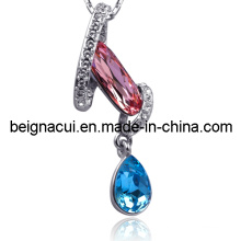 Sw Elements Crystal Indicolite and Light Rose Color Special Design Necklace