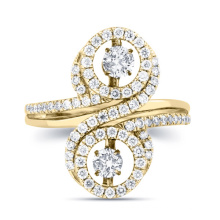 Double Dancing Diamond Ring 925 Prata Jóias Gold Plated