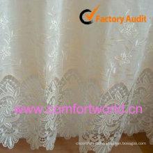 Tecidos de cortina de rendas bordados para windows feito de organza do poliéster 100%