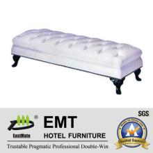 Mobiliario de Hotel Popular PU Blanca Cama de pie Taburete (EMT-BS08)