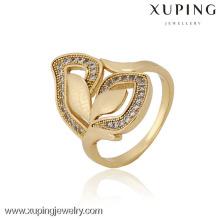 12835 China Wholesale Xuping Fashion Elegant 18K anillo de mujer de oro de la perla