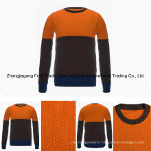 Men′s Round Neck Color Combined 100% Top Grade Pure Cashmere Sweater