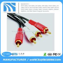 10FT (3M) двойной RCA Мужской к двойному RCA Мужской аудио кабель видео