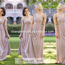 Elegant Bridesmaid Dresses Chiffon Off Shoulder Pleats Cheap Long Bridesmaid Dress 2017