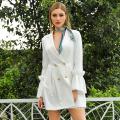 WEIXIN New Arrival SHEIN White Office Blazer V Neck Flounce Asymmetrical Dress Women Clothing