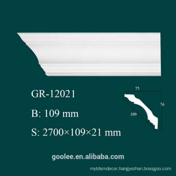 High Density Waterproof Classic Decorative Castable PU Plain Cornice Mouldings