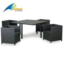 aluminum frame rattan table and chair