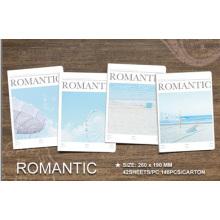 Livro de exercícios escolares romanticos para design promocional