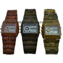 Waterproof Analog Digital Wooden Wrist Watches for Men