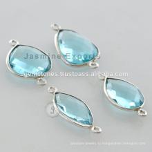 925 стерлингового серебра синий топаз драгоценный камень Безель Разъемы