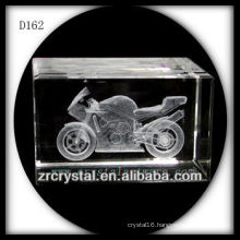 3D Laser Engraved Motorcycle Crystal Cube