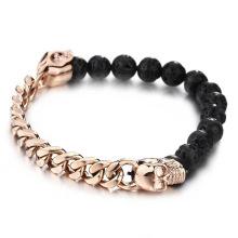 Bracelet homme crâne or rose pierre de lave