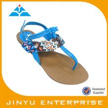 T-Strap Peacock Blue Schuhe Sandale