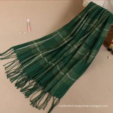 Premium shimmer gold line fashion women muslim Printed plaid winter hijab pashmina scarf