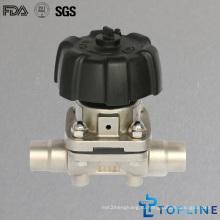 Нержавеющая сталь Санитарный мембранный клапан со свариваемыми концами (новая конструкция)