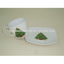 Porcelain Espresso Coffee Cup and Saucer with Lovely Christmas Tree Design