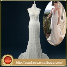 RASA-27 haute qualité de perles à perles à la main Robes de mariée avec train de courroie spaghetti élégante robe de mariée en dentelle arc
