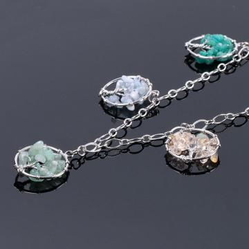 Natural Gemstone  Life of Tree Pendant Necklace long chain for women girl