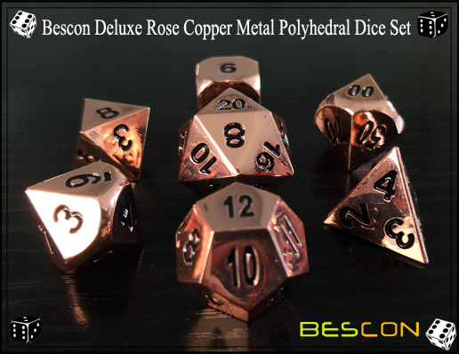 Bescon Deluxe Rose Copper Metal Polyhedral Dice Set-2