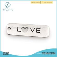 High quality love custom engraved charms,custom metal words charms