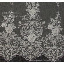 Dessins de Kurtis avec lilas La plus ancienne broderie fleur élastique en dentelle pour les robe de mariée en tissu Cordons 52 '' No.CA115B