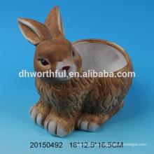 Maceta de cerámica con diseño de conejo para decro