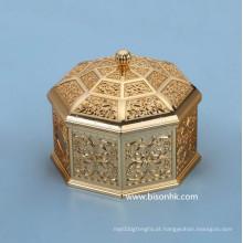 Retro Design Caixa de jóias de metal personalizado Atacado, Antique Metal Jewelry Box