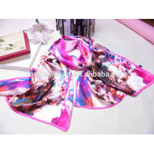 China factory lady fashion multicolor digital printed silk scarf