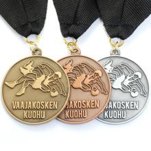 Wholesale Custom Metal Old Wrestling Sport Award Medal With Ribbon