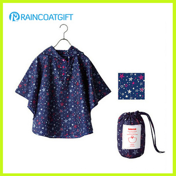 Allover Printed Foldable Children′s Polyester Rain Poncho with Pouch