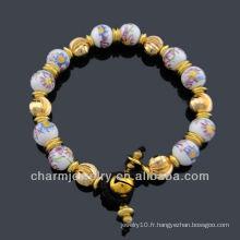 Bracelet à perles de porcelaine style vintage à la main Craft BC-001