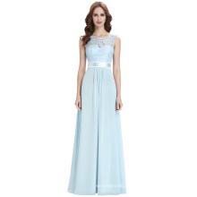 Kate Kasin Sleeveless V-Back Formal Light Blue Lace Chiffon Evening Ball Gown Party Prom Bridesmaid Dresses KK000164-1