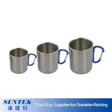 Sublimation Blanks Carabiner Handle Stainless Steel Mug Blank Silver Metal Coffee Cup