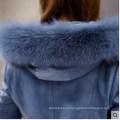 Дамы с капюшоном дубленки и кожа ягненка длинное пальто Стиль