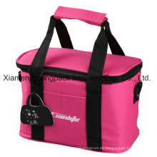 Promocional Hot Pink 600d poliéster aislado almuerzo bolsa de refrigerador