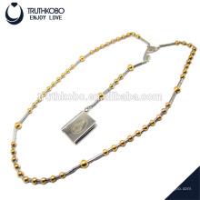 Heißer Verkauf Bibeltext und Mary-Musterschmucksachen zur Halskette mit 8mm u. 6mm Goldüberzug-Rosenkranzperle-Edelstahl runden Anhänger