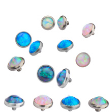 Solide Titan Lünette Set synthetische Opal Dermal Anchor Top Piercing Schmuck