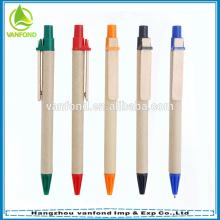 ECO Friendly promocional reciclado presente caneta com Clip de madeira