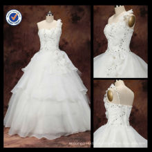 Venda Por Atacado 2014 mais recente Beaded Brilliant Sexy Bateau Neck One-shoulder A-line Com Diamante Bridal Wedding Wown WA00069