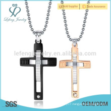 Fashion black and rose gold stainless steel western tribal cross pendant for lovers