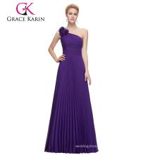 Grace Karin Sleeveless One Shoulder Flower Pleated Long Purple Chiffon Prom Dress CL3467-4