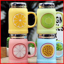 High quality ceramic fruit lovely Mark cup Office used water cup with lids