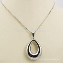 Hecho en China Joyería Collares Waterdrop de plata huecos de acero inoxidable