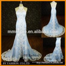 new lace designer mermaid high neck wedding gown halter elegant appliqued colorful satin dress