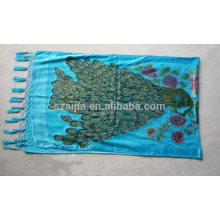 Fashion polyester fleece burn out embroidery beads scarf
