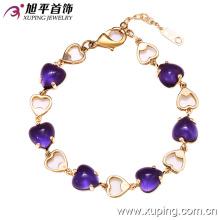 72830 Nueva Arrrival Fashion 14k pulsera de cristal en forma de corazón elegante plateado en forma de corazón en aleación de cobre