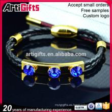 Brazalete de cuero grabado de la nueva moda personalizada con diamantes de imitación